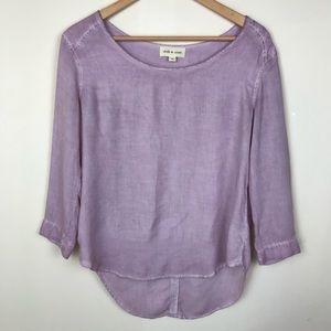Cloth & Stone Pink Stonewash Scoop Long Sleeve Top